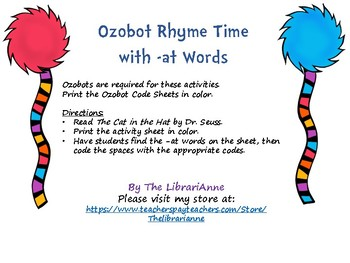 Ozobot Rhyme Time with -at Words (Dr. Seuss Inspired)