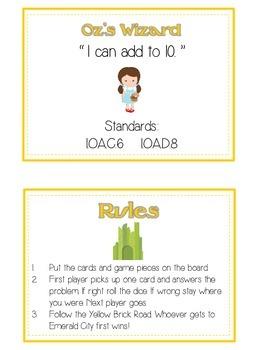 Oz's Wizard Math Folder Game - Common Core - Adding within 10