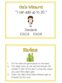 Oz's Wizard Math Folder Game - Common Core - Adding 10 to 20