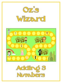 Oz's Wizard Math Folder Game - Common Core - Adding Three