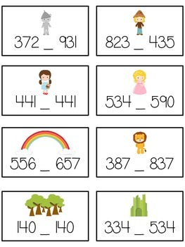 Oz's Wizard Math Folder Game - Common Core - Comparing 3 Digit Numbers