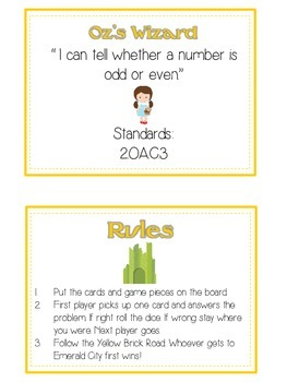 Oz's Wizard Math Folder Game - Common Core - Even and Odd Numbers