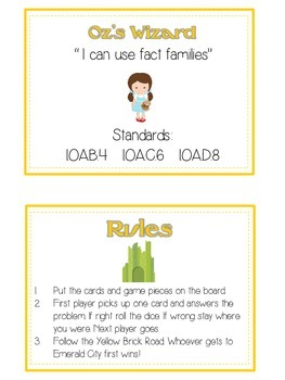 Oz's Wizard Math Folder Game - Common Core - Fact Families