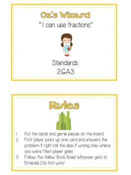 Oz's Wizard Math Folder Game - Common Core - Fractions