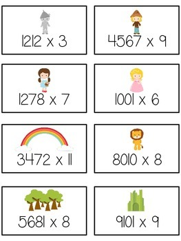 Oz's Wizard Math Folder Game - Common Core - Multiplication 1 2 3 4 Digits