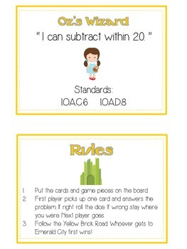 Oz's Wizard Math Folder Game - Common Core - Subtracting 10 to 20