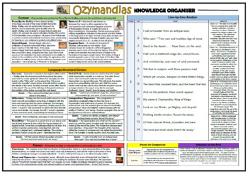 Ozymandias - Percy Bysshe Shelley - Knowledge Organiser/ Revision Mat!