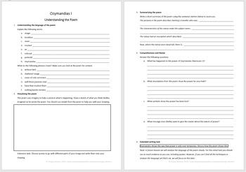 Ozymandias for GCSE ~ Worksheets and lesson plans for 3 lessons