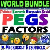 BUNDLE   World Regions PEGS Factors Lessons & Worksheets  