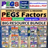 BUNDLE | PEGS Factors by World Region | Poli Econ Geo Soci