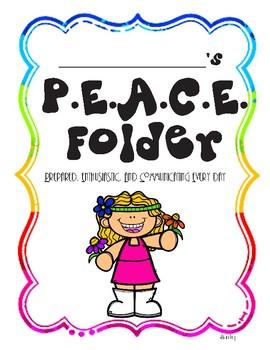 P.E.A.C.E. Take Home Folder Cover Page and Letter