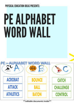 P.E. Alphabet Word Wall Display - With Editable Documents