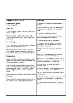 P.E Lesson Plan - Year 7 Boys Basketball - Lesson 4 (Dribbling and passing)