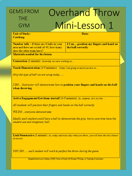 Physical Education Overhand Throw Resource: Mini Lesson Bundle!