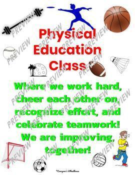 Physical Education Poster Set: Growth Mindset