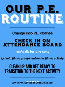 PE Poster: Classroom Routine (Back-to-School, Middle School PE)