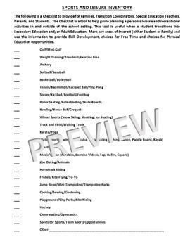 P.E. Secondary Level Skills Checklist w/ Sports and Leisure Inventory