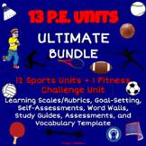Printable P.E. Units Bundle with 13  Assessments, Study Gu
