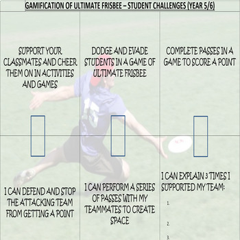 P.E. Ultimate Frisbee Unit of Work, Teacher Assessment & Student Challenges