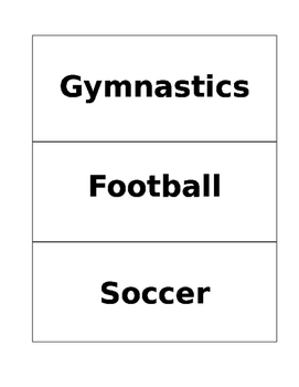 P.E. sports and health related flashcards created for use