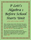 P Lett's Precalculus Before School Starts Unit