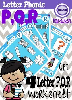 P,Q,R Letter Recognition Worksheets
