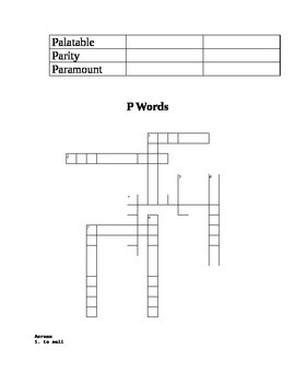 P Words ACT Practice - Context Sentences, Games, & Syn/Ant