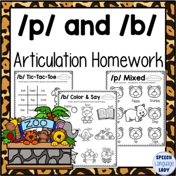 P and B Articulation Homework Worksheets