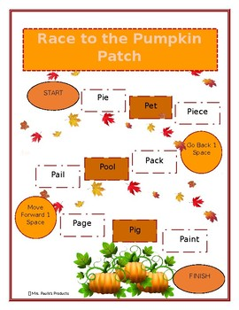 P in the Initial Position of Words Game- Race to the Pumpkin Patch