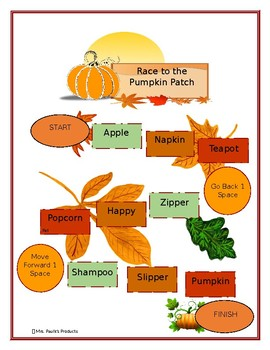 P in the Medial Position Board Game- Race to the Pumpkin Patch