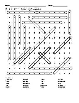 P is for Pennsylvania word search answer key