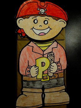 P is for Pirate paper bag puppet