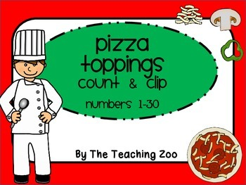 P is for Pizza Count & Clip 1- 30 Task Cards