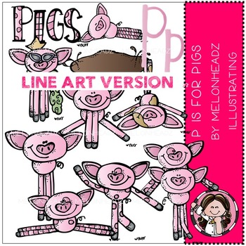 P is for pigs by Melonheadz LINE ART