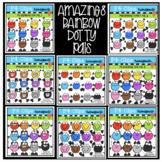 P4 AMAZING 8 Dotty Pals (P4 Clips Trioriginals) RAINBOW CLIPART