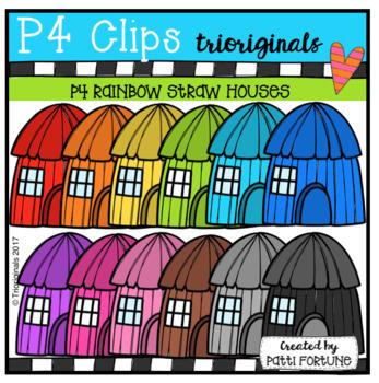 P4 AMAZING 8 RAINBOW Three Little Pigs BUNDLE (P4 Clips Trioiginals Clip Art)