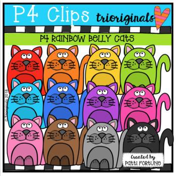 P4 AMAZING 8 RAINBOW Valentine Cats (P4 Clips Triorignals)