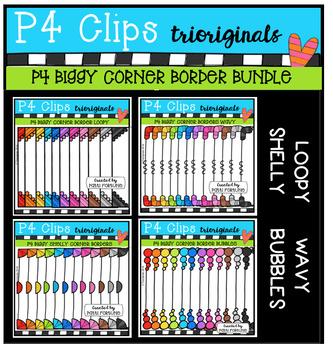 P4 BIGGY Corner Border BUNDLE (P4 Clips Trioriginals Digital Clip Art)