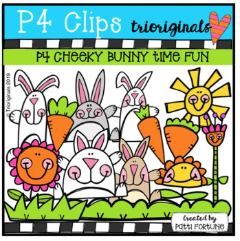 P4 CHEEKY Bunny Time Fun (P4 Clips Trioriginals) SPRING EASTER CLIPART