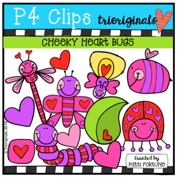 P4 CHEEKY Heart Bugs  (P4 Clips Trioriginals) VALENTINE CLIPART