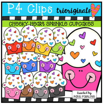 P4 CHEEKY Heart Sprinkle Cupcakes (P4 Clips Trioriginals)