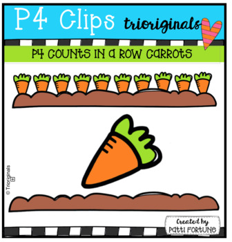 P4 COUNTS IN A ROW Carrots (P4 Clips Trioriginals) EASTER CLIP ART