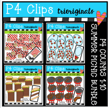 P4 COUNTS Summer Picnic BUNDLE (P4 Clips Triorignals Clip Art)