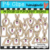 P4 DOUGH 2D FUN Bunny Shapes (P4 Clips Trioriginals) EASTER CLIPART