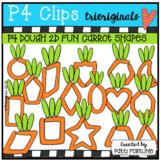 P4 DOUGH 2D FUN Carrot Shapes (P4 Clips Trioriginals) EASTER CLIPART