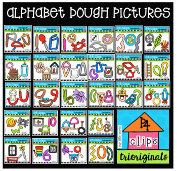 P4 DOUGH Alphabet Pictures (P4 Clips Trioriginals Clip Art)