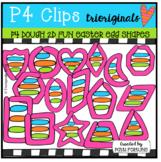 P4 DPUGH 2D FUN Easter Egg Shapes (P4 Clips Clips Trioriginals) EASTER CLIPART