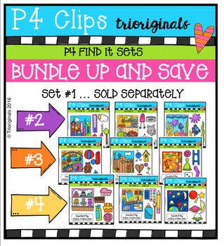 P4 FIND IT Sets BUNDLE {P4 Clips Trioriginals Digital Clip Art}