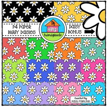 P4 Paper Biggy Daisies  {P4 Clips Trioriginals Digital Clip Art}