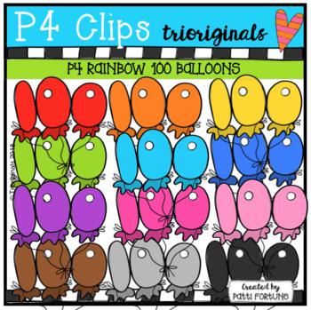 P4 RAINBOW 100 Balloons (P4 Clips Trioriginals)